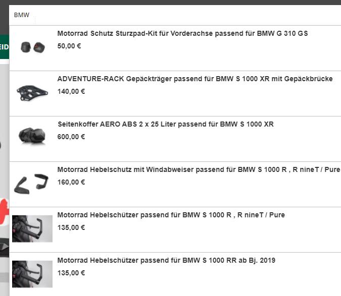 Intelligente Produktsuche für Motorradartikel und Zubehör